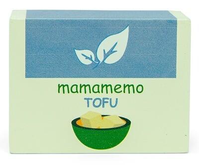 Mamamemo Tofu- Packung aus Holz 10 x 8 cm, elfenbeinweiß/hellblau