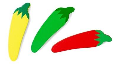 Mamamemo Chili aus Holz, 4 cm gelb/grün/rot, flach,  3 Stück