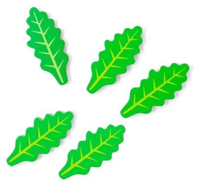 Mamamemo Rucolasalatblätter aus Holz, 3 cm, grün, 5 Stück