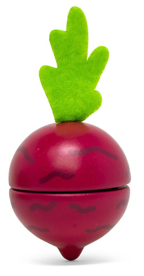Mamamemo Rote Bete/Rande, aus Holz, 5 cm bordeaux/grün 2-teilig