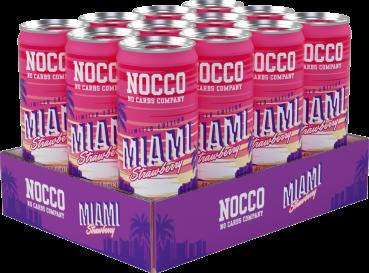 Grosspackung Nocco Miami Strawberry BCAA Energy Drink (12 x 0,25 Liter Dosen SE) = 3 Liter