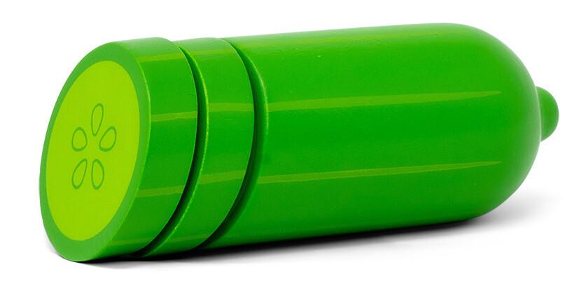 Mamamemo Gurke aus Holz, 13 x 2,5 cm, grün 3-teilig