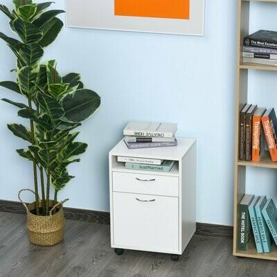 HOMCOM® Rollcontainer Aktenschrank Bürocontainer mit Schublade Büroschrank Weiss