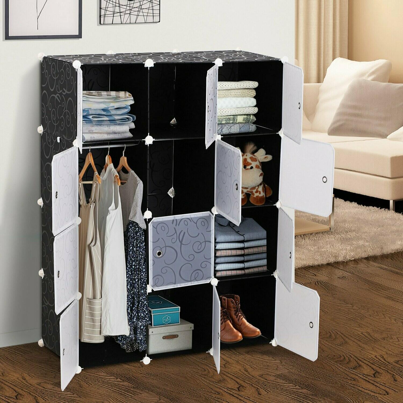 HOMCOM® Kleiderschrank mit Kleiderstange und Würfeln | Garderobe | 111x47x145 cm | Schwarz, Weiss