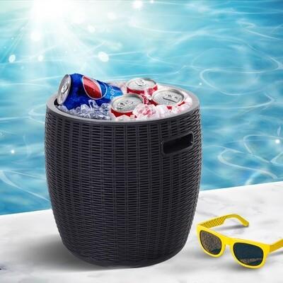 Outsunny® Beistelltisch Eiskübel Einsbehälter mit Deckel 45L Getränkekühler PP Schwarz