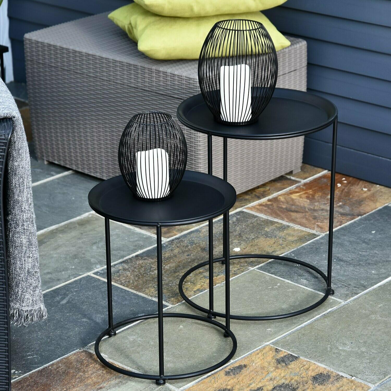 Outsunny® Beistelltisch 2er Set Garten Couchtisch Kaffeetisch Wohnzimmer Metall Schwarz
