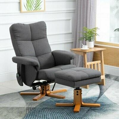HOMCOM® Massagesessel mit Fußhocker Relaxsessel Heizfunktion TV Sessel Polyester Grau 145° Neigung 80 x 86 x 99 cm