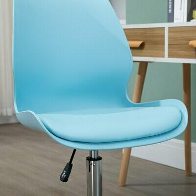 HOMCOM® Schreibtischstuhl mit Schwammkissen höhenverstellbarer Drehstuhl Himmelblau