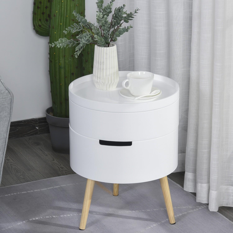 HOMCOM® Beistelltisch Sofatisch mit 2 Stauräume Couchtisch frei kombinierbar Holz Weiss