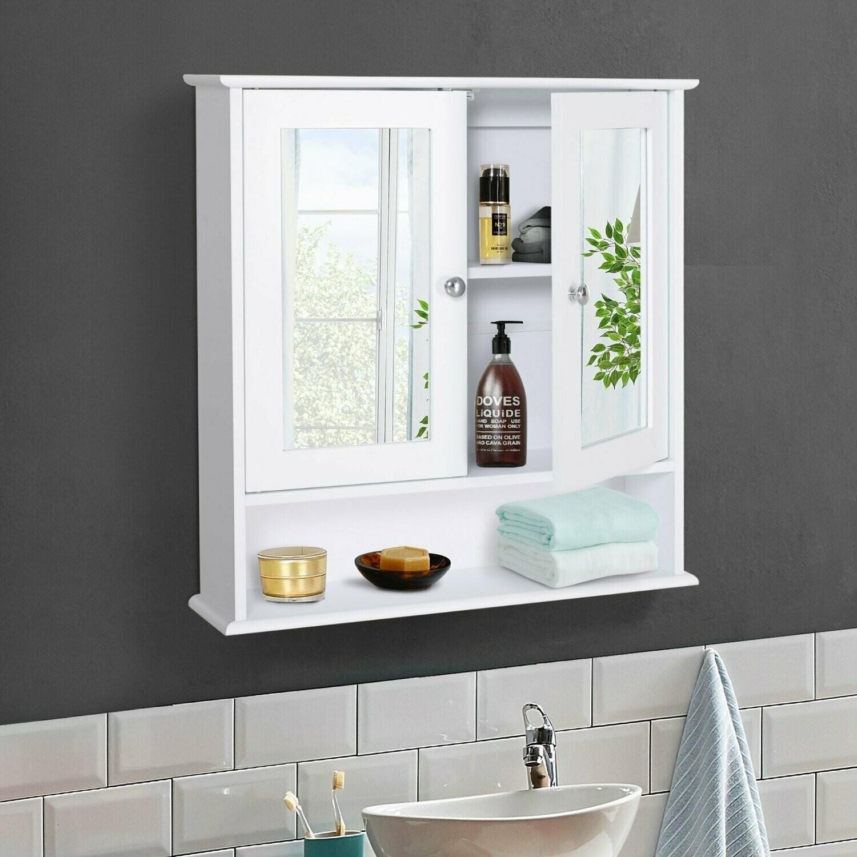 kleankin® Spiegelschrank Badschrank Wandschrank Hängeschrank 3 Ablage MDF Weiss
