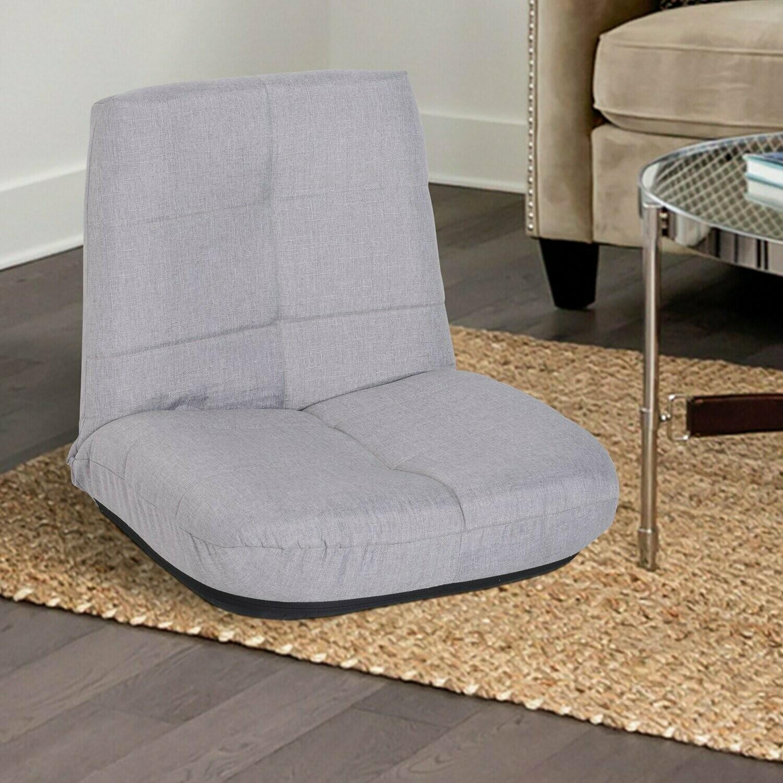 HOMCOM® Sitzkissen Polsterstuhl Bodensessel ohne Beine mit Lehne 5-stufig verstellbar Leinen Metallgestell Hellgrau 63 x T65 x 60 cm