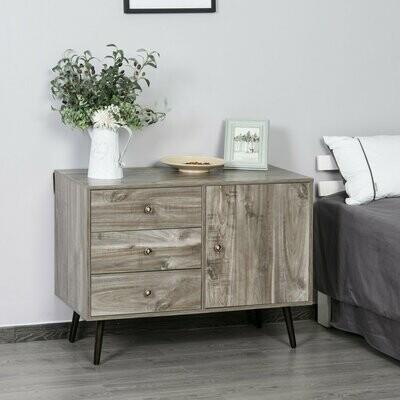 HOMCOM® Beistellschrank Bücherschrank Sideboard Kommode Standschrank mit 3 Schubladen