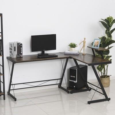 HOMCOM® Computertisch X-förmiger Eckschreibtisch Schreibtisch MDF+Metall 155x115x91,5cm