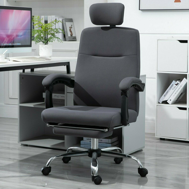 Vinsetto® Bürostuhl Ergonomischer PC Drehstuhl mit Fußstütze verstellbarer Kopfstütze Grau