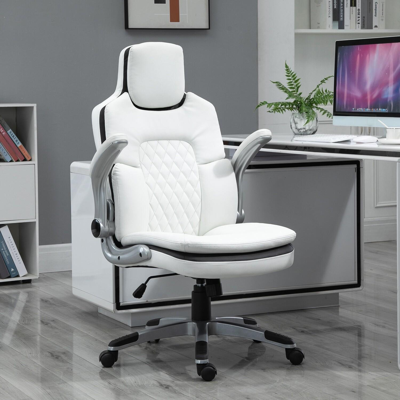 Vinsetto® Bürostuhl Schreibtischstuhl Klappbare Armlehnen Höhenverstellbar Wippfunktion PU