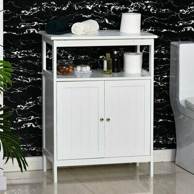 kleankin® Badezimmerregal Badeschrank Küchenschrank mit 1 offenes Ablagefach MDF Weiss