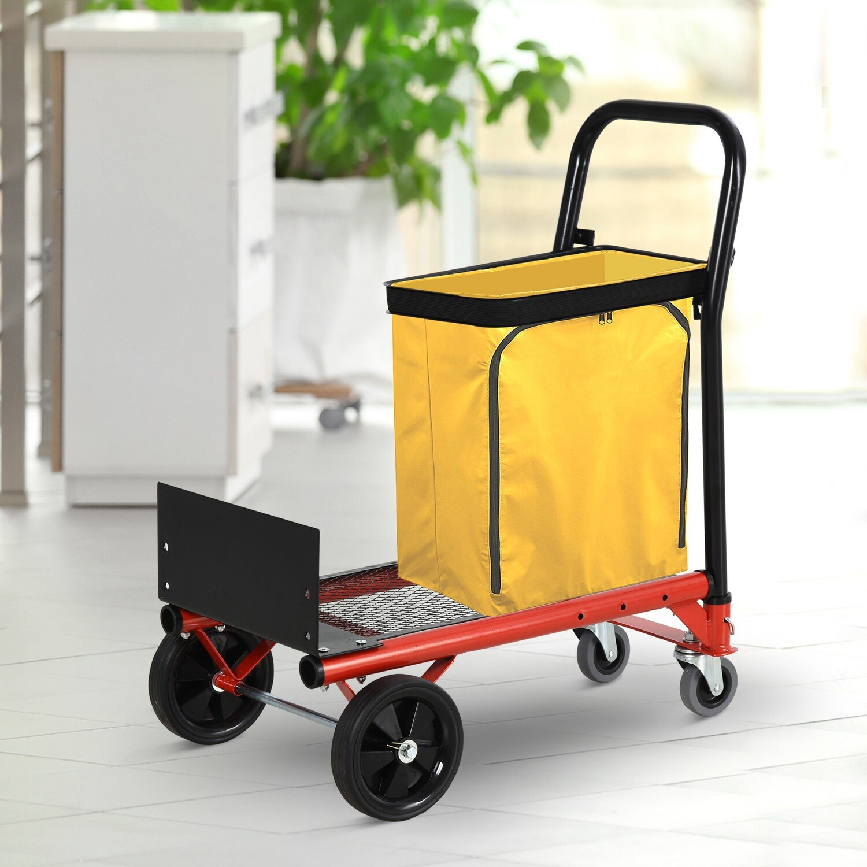 HOMCOM® 2-in-1 Multifunktions Sackwagen Sackkarre Höhenverstellbarer Falthandwagen Orange+Schwarz