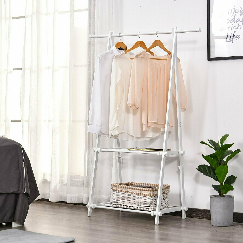HOMCOM® Kleiderständer mit Schuhablage Kleiderstange Garderobenständer Stahl Weiß Silber