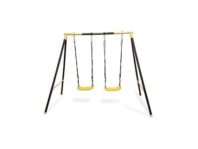 Jumpking Doppelschaukel 206 x 220 x 136 cm schwarz/gelb
