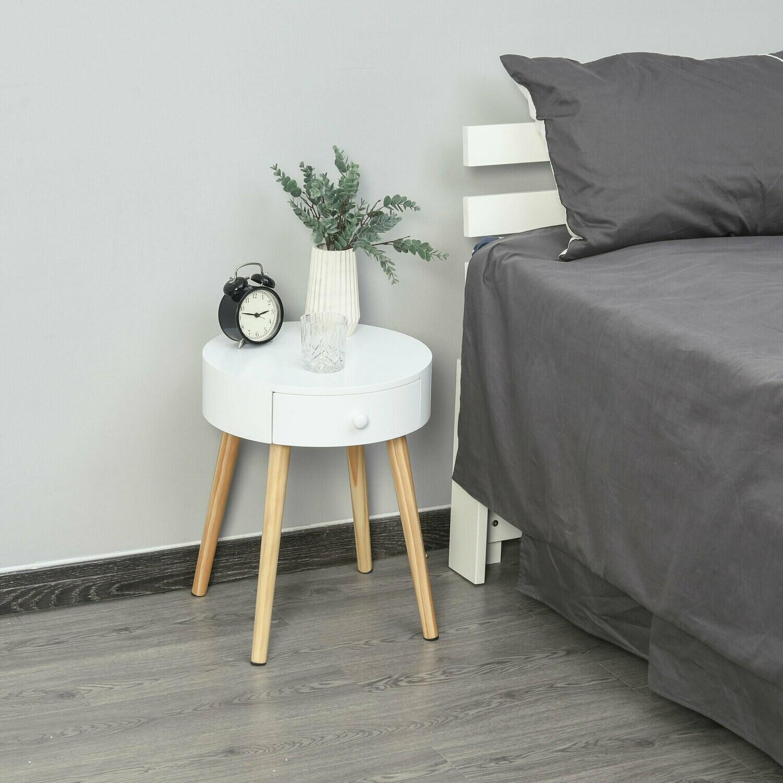 HOMCOM® Nachttisch runder Beistelltisch mit Schublade Beinen Skandinavisches Design Weiss