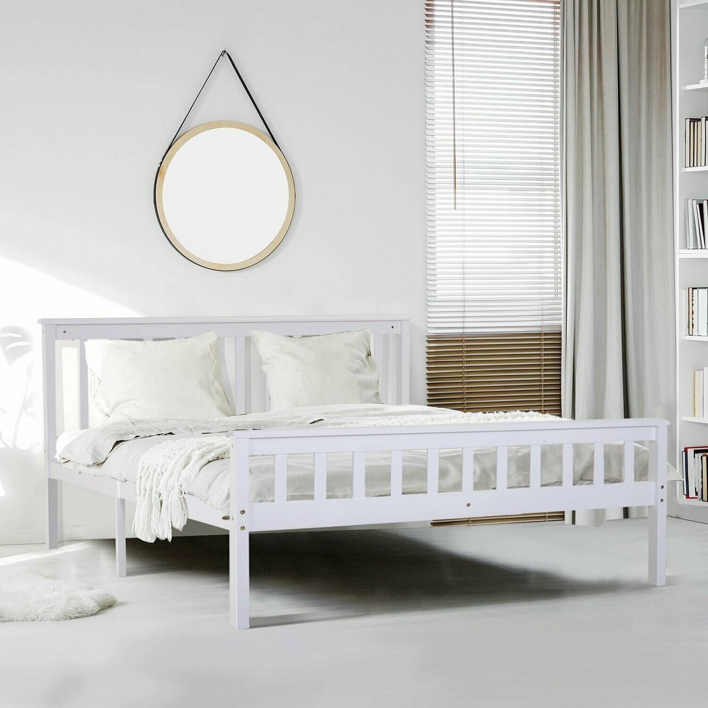 HOMCOM® Bett Holzbett Bettgestell 140 cm Doppelbett Kiefer massiv inkl. Lattenrost mit Stauraum Weiss