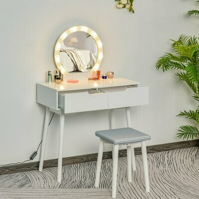 HOMCOM® Schminktisch Kosmetiktisch mit Hocker LED Spiegel und 2 Schubladen Weiss