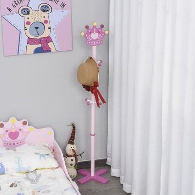 HOMCOM® Kinderzimmer Garderobenständer Standgarderobe Kleiderständer 8 Haken Massivholz