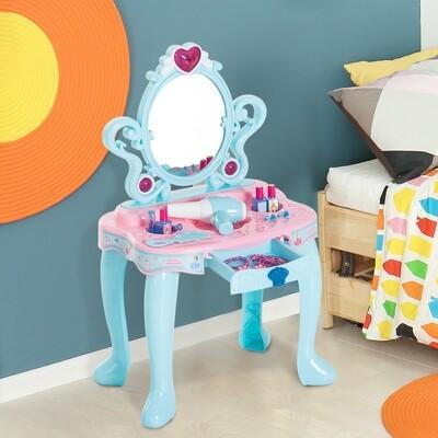 HOMCOM® Schminktisch Kinder Frisiertisch mit Klavier Fotorahmen Hellgrün+Rosa