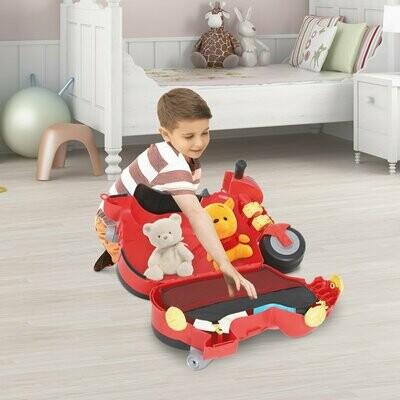 HOMCOM® Kinderkoffer Kindergepäck Motorrad Handgepäck mit Gurt 4-in-1 sitzen PP Rot 52 x 25 x 34 cm