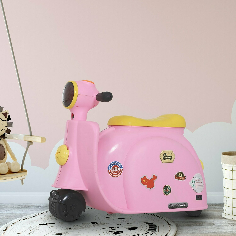 HOMCOM® Kinderkoffer Motorrad Kindergepäck mit Gurt Vier-in-One-Koffer sitzen PP Rosa 52 x 23 x 39 cm