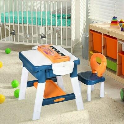 HOMCOM® Kinder Spieltisch Lernspielzeug Lerntisch mit Klavier 2 in 1 Bautisch 3-12 Jahren