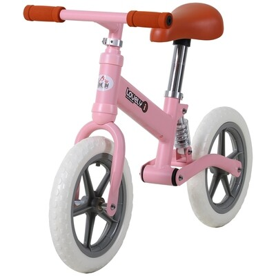 HOMCOM® Laufrad mit Stoßdämpfer Kinderrad Velo Lauflernrad Balance Bike 2-5 Jahre PP Rosa