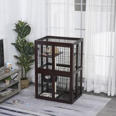 PawHut® Katzenhaus Katzen Käfig Hängematte Sisal-Säulen & Matte Massivholz Metalldraht