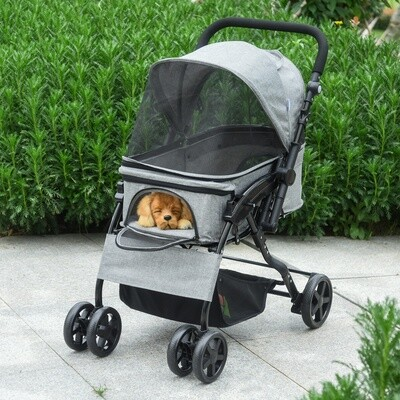 PawHut® Hundewagen Hundebuggy Hundetasche mit vier Rädern klappbar Hunde Oxford Grau