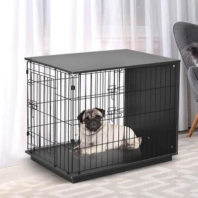PawHut® Hundekäfig Hundehaus mit 2 Türen Metalldraht MDF Schwarz