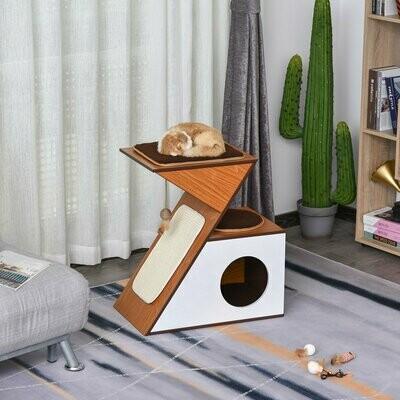 PawHut Katzenhaus mit Spielsisal und Spielbällen, MDF, Sisal, Weiss