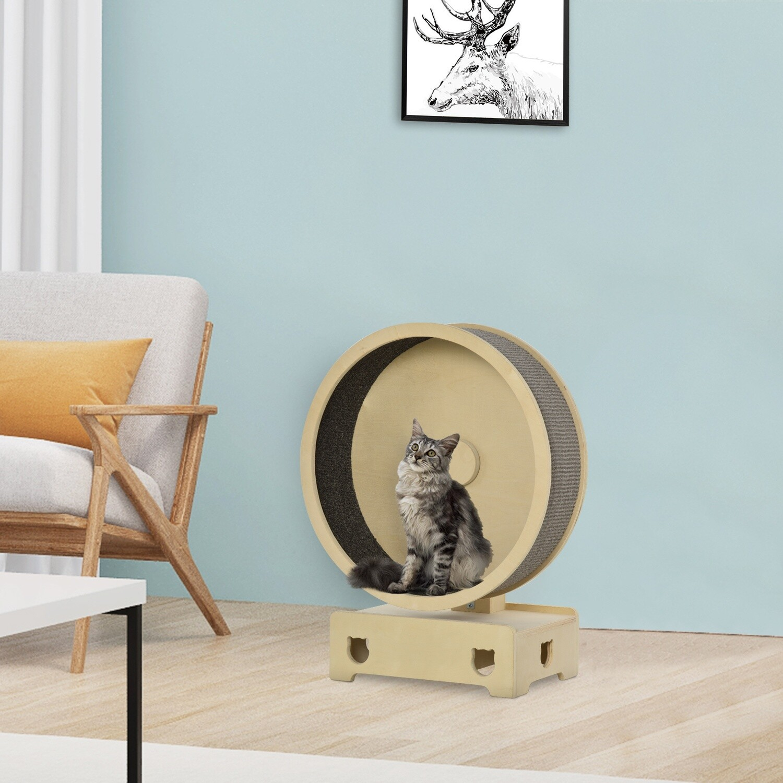 PawHut® Kratzbaum Katzenbaum Katzenlaufrad mit Teppich Klettergerüst Sisalseil