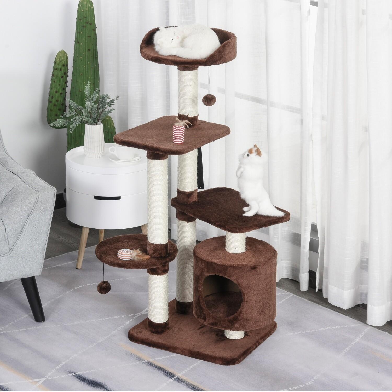 PawHut® Katzenbaum 5-Stock Kratzbaum Katzenhaus mit Sisalsäulen Spielbällen Plüsch