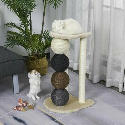 PawHut® Kratzbaum Katzenbaum mit 2 Sisalpfosten & 4 Sisalbällen Plattform