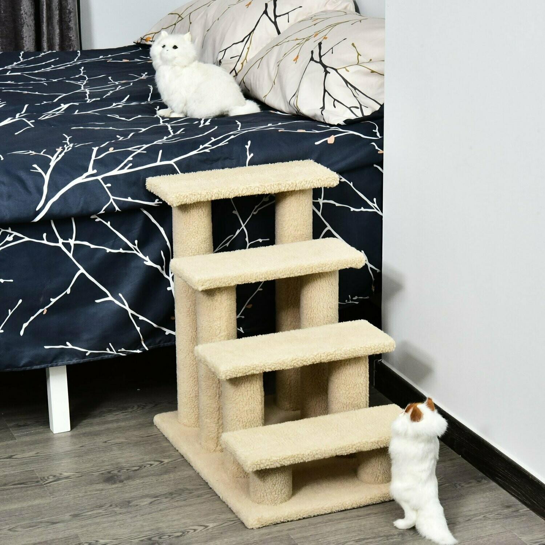PawHut® Tiertreppe Katzentreppe Hundetreppe 4 Stufen beige