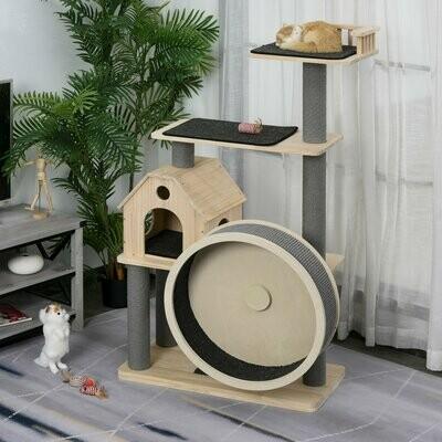 PawHut® Katzenbaum mit Laufrad 4-Stock Kratzbaum Katzenhaus mit Sisalsäulen Massivholz
