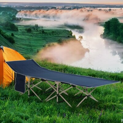 Outsunny® Feldbett Campingbett Campingliege Erhöht Faltbar Tragetasche Stahl Oxford Blau