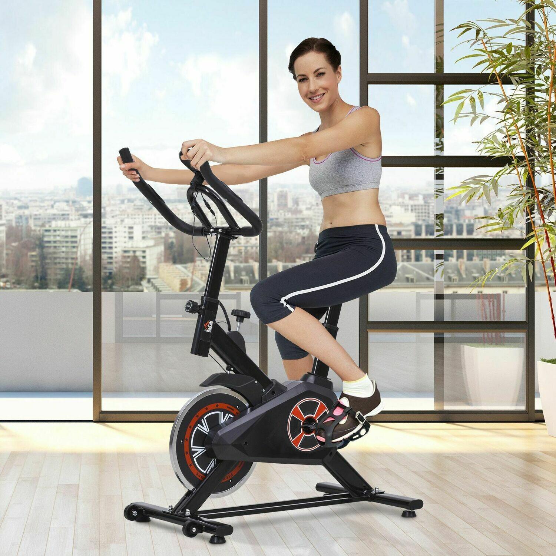 HOMCOM® Indoor Fahrradtrainer Fitnessfahrrad Stufenlos Widerstand Home Gym Stahl