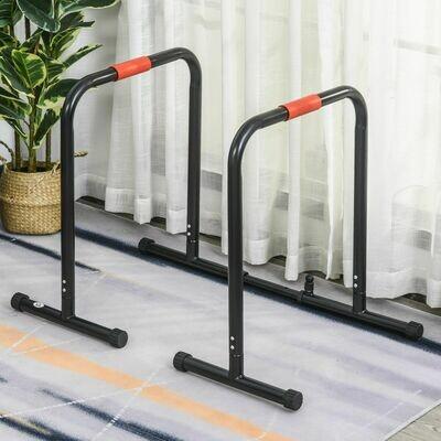 HOMCOM® Dip Barren Fitness Push Up Dip Station Einstellbar Stahl Schwarz