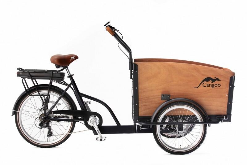 Cangoo Croovy Cargo E-Bike Lastenfahrrad Lastenvelo 24 Zoll 42 cm Unisex 6V V-Bremsen Schwarz / Braun