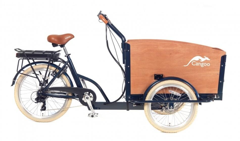 Cangoo Croovy Cargo E-Bike Lastenfahrrad Lastenvelo 24 Zoll 42 cm Unisex 6V V-Bremsen Dunkelblau/Braun