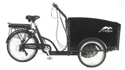 Cangoo Croovy Cargo E-Bike Lastenfahrrad Lastenvelo 24 Zoll 42 cm Unisex 6V V-Bremsen Mattschwarz