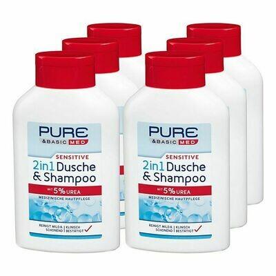 Grosspackung Pure & Basic med sensitive 2in1 Dusche & Shampoo 300 ml, 6er Pack = 1,8 Liter