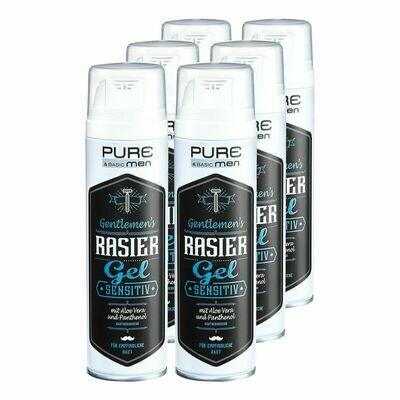 Grosspackung Pure & Basic Men Rasiergel Sensitiv 200 ml, 6er Pack = 1,2 Liter