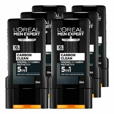 Grosspackung Loreal Men Expert Duschgel Carbon Clean 300 ml, 6er Pack = 1,8 Liter
